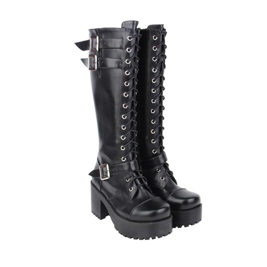 Women's Knee High Buckle Strap Punk Boots