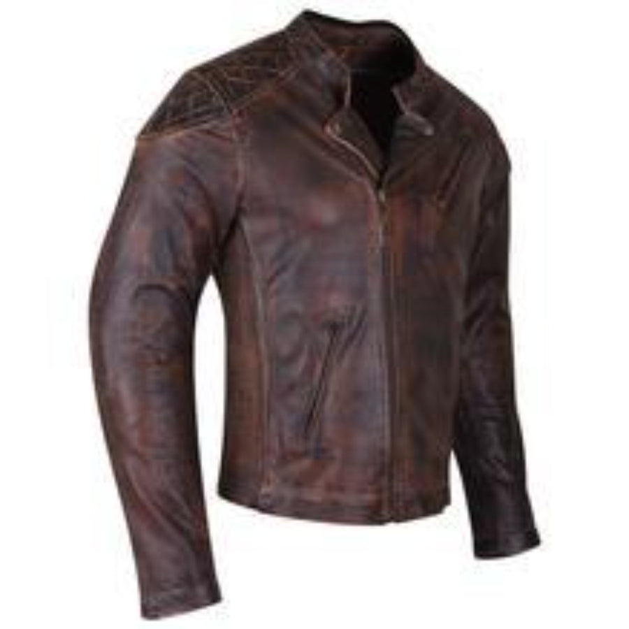 Vance Leather High Mileage Men's Vintage Brown Leather Jacket with Diamond Stitched Shoulders