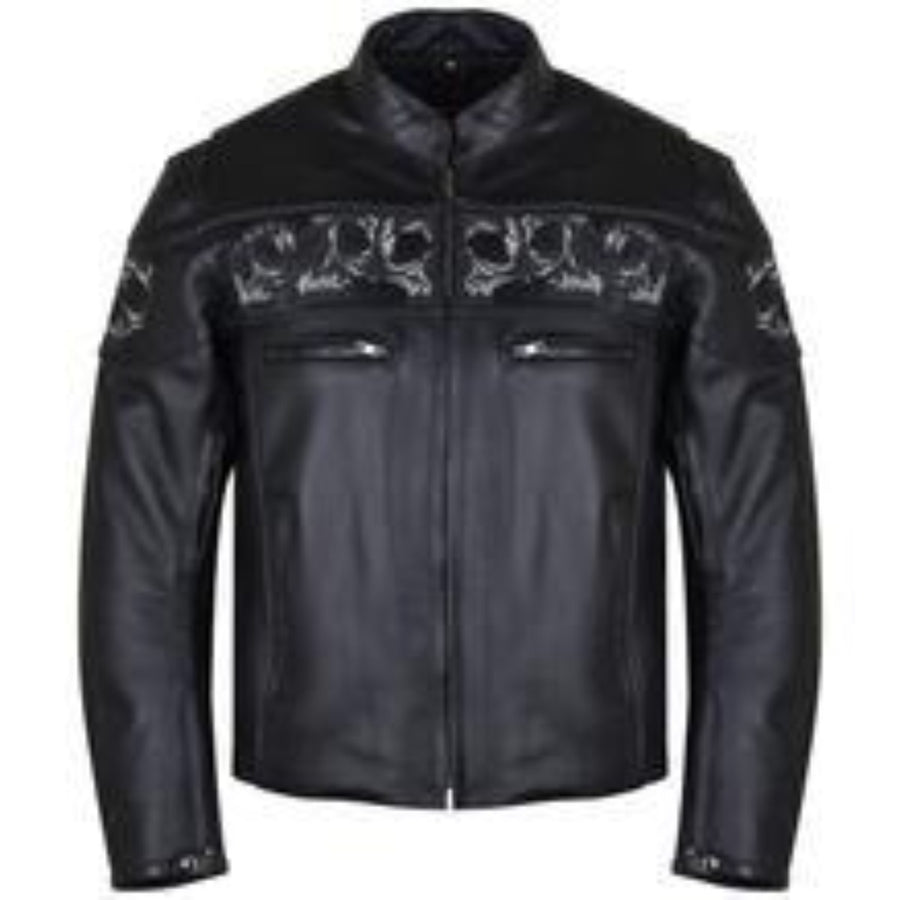 Vance Leather Reflective Skull Cowhide Motorcycle Jacket