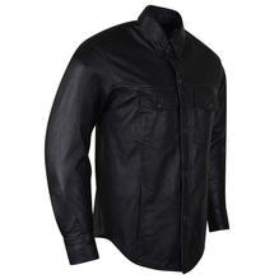 Vance Leather High Mileage Men's Black Naked Cowhide Leather Shirt