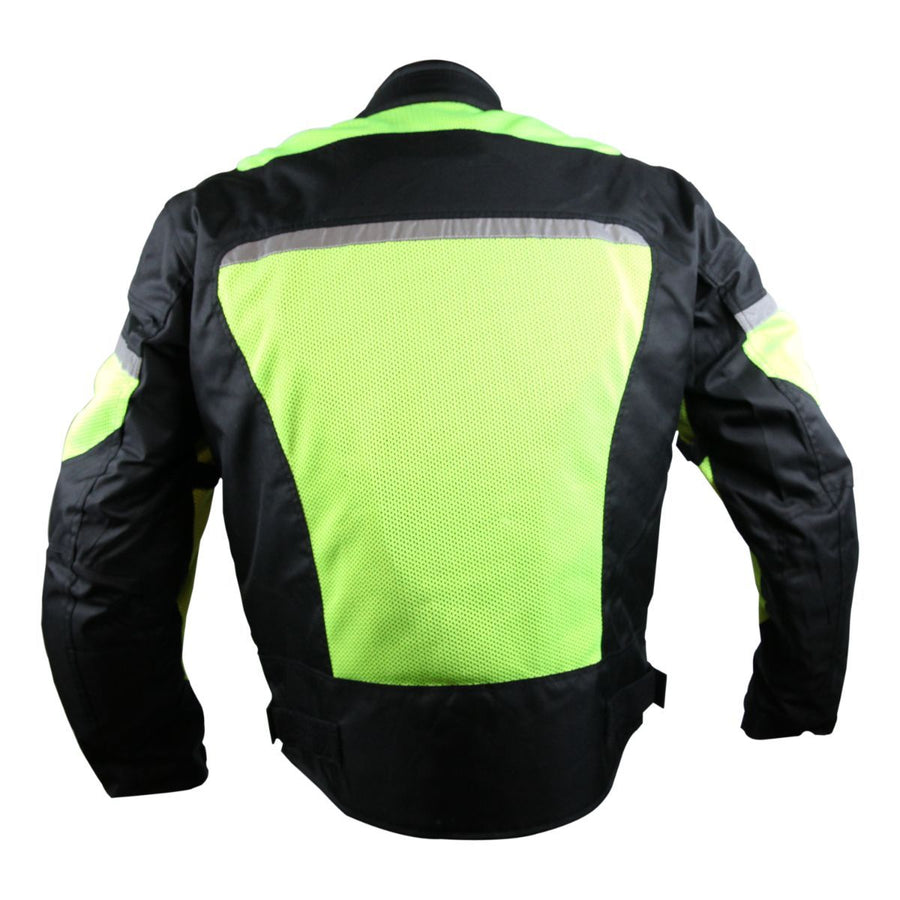 Vance Leather Windbreaker Hi-Vis Mesh/Textile CE Armor Motorcycle Jacket