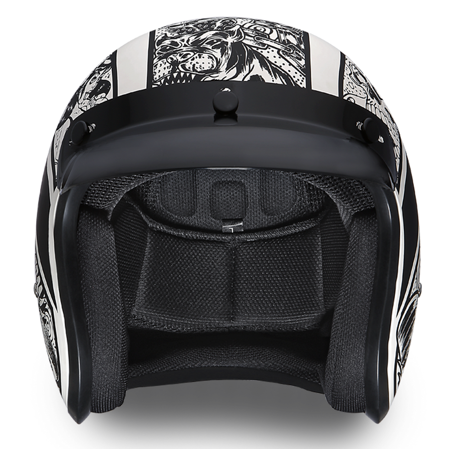 Daytona D.O.T. Cruiser w/Graffiti Motorcycle Open Face Helmet, Unisex, XS-2XL, Black/White - American Legend Rider