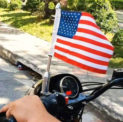 "Daniel Smart Universal Motorcycle Flagpole Mount 13"" & American Flag 6"" x 9"""