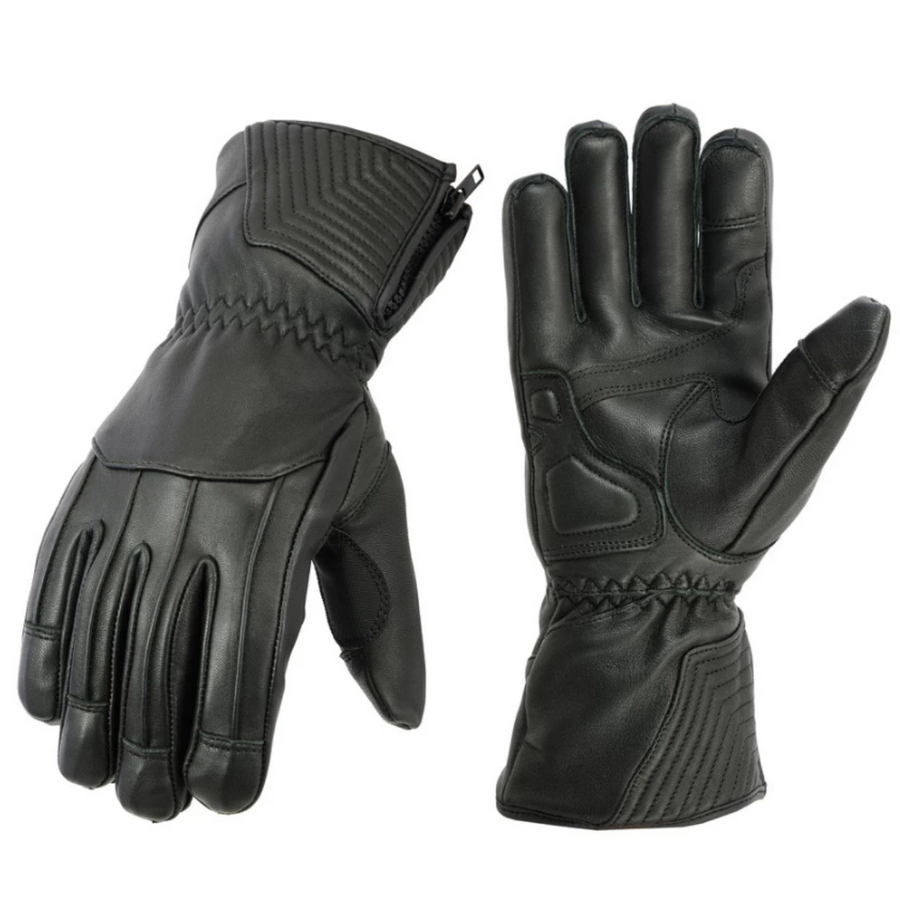 Daniel Smart Men's Insulated Driving Leather Gloves, XS - 3XL, Black