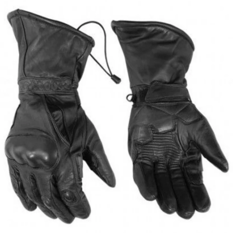 Daniel Smart Men's Gauntlet High Performance Insulated Touring Leather Gloves, Black - American Legend Rider
