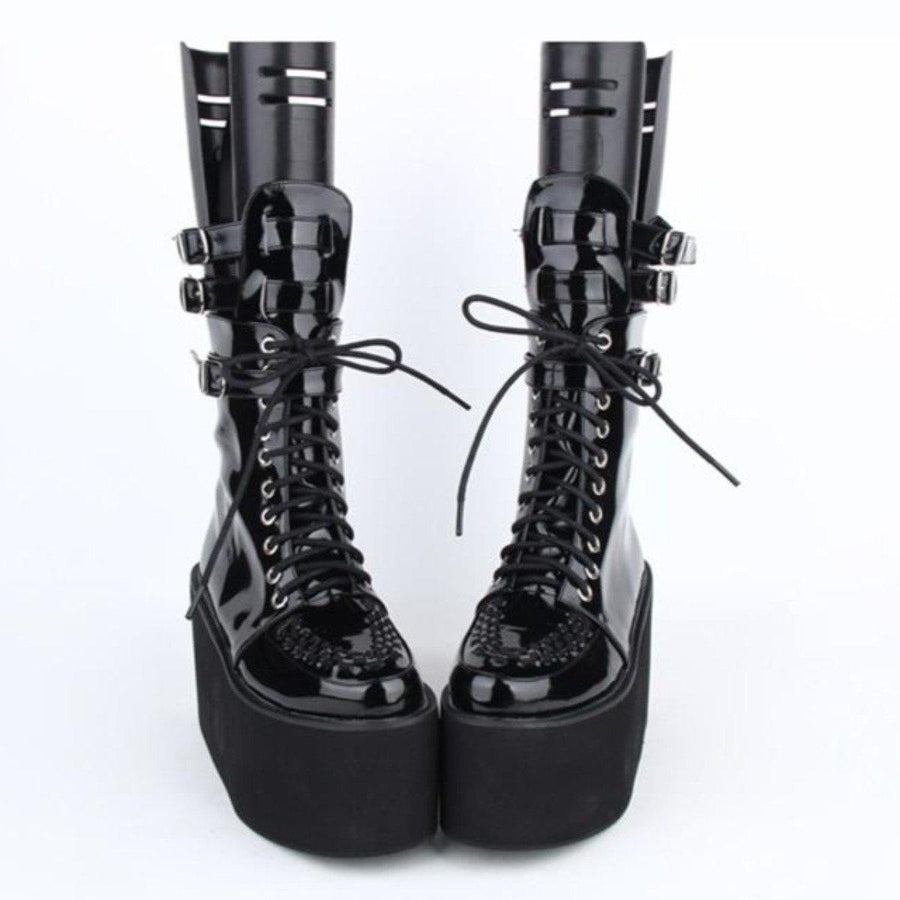 Women's Thick Platform Lace-Up Punk Boots