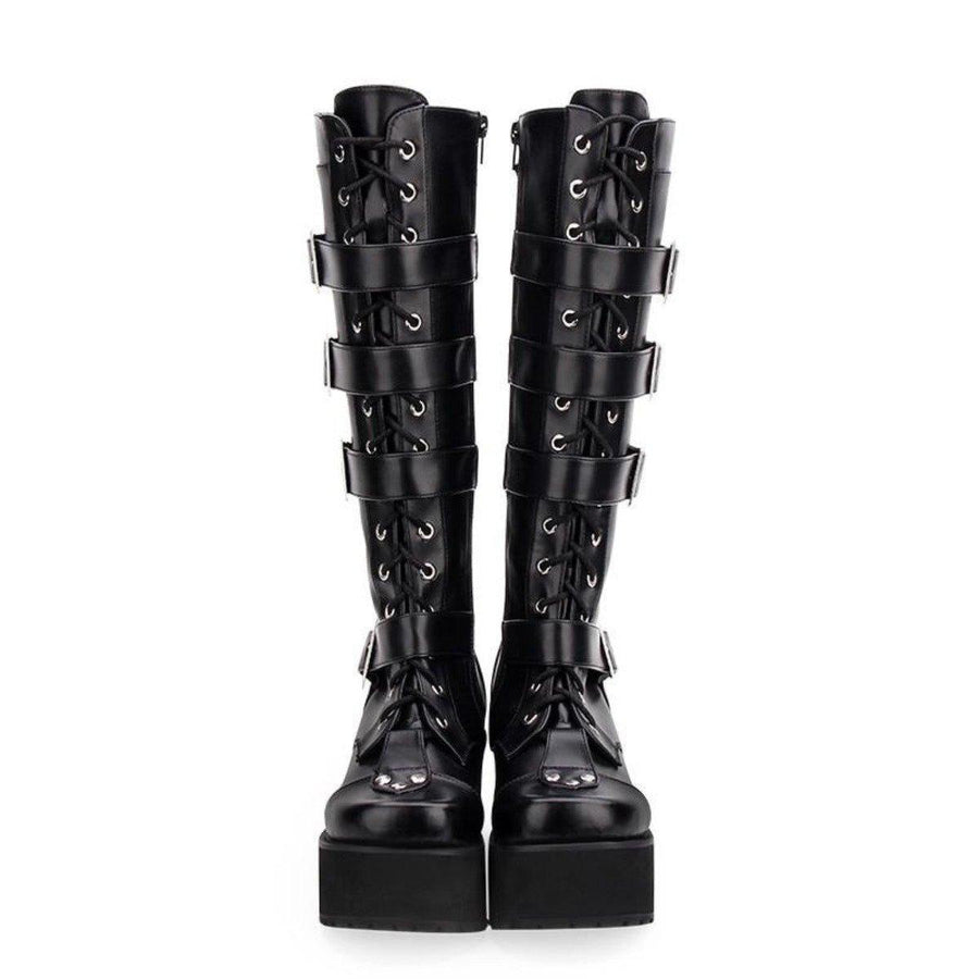 Women's Punk Gothic Buckle Straps Lace-Up High Boots