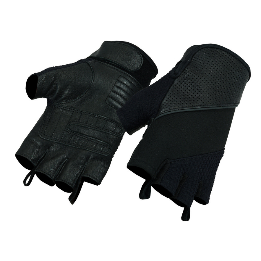 Daniel Smart Leather and Textile Fingerless Gloves