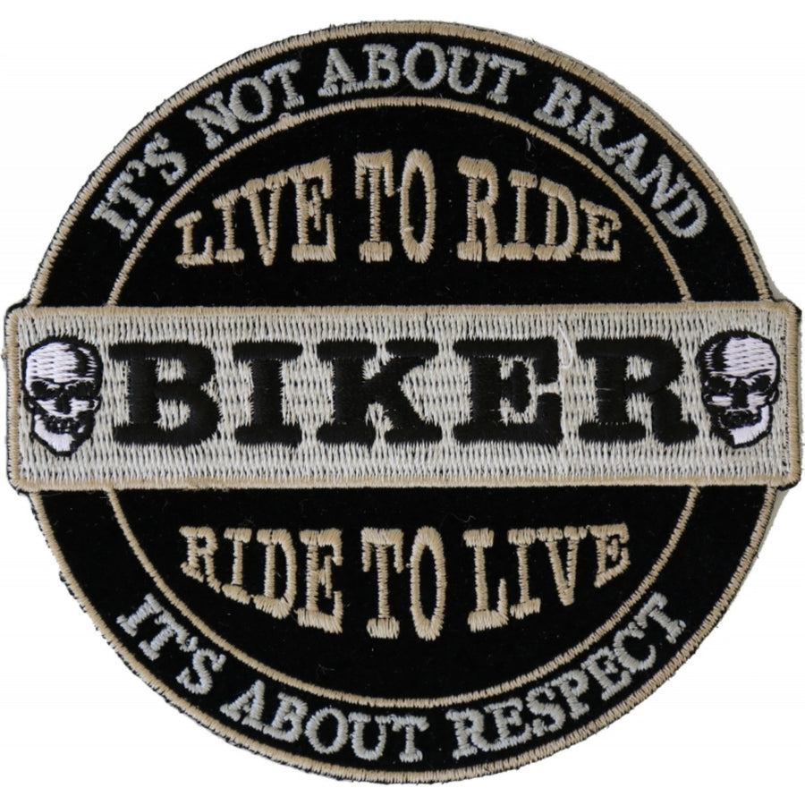Daniel Smart It's Not About Brand, It's About Respect Biker Embroidered Patch, 3.5 x 4 inches