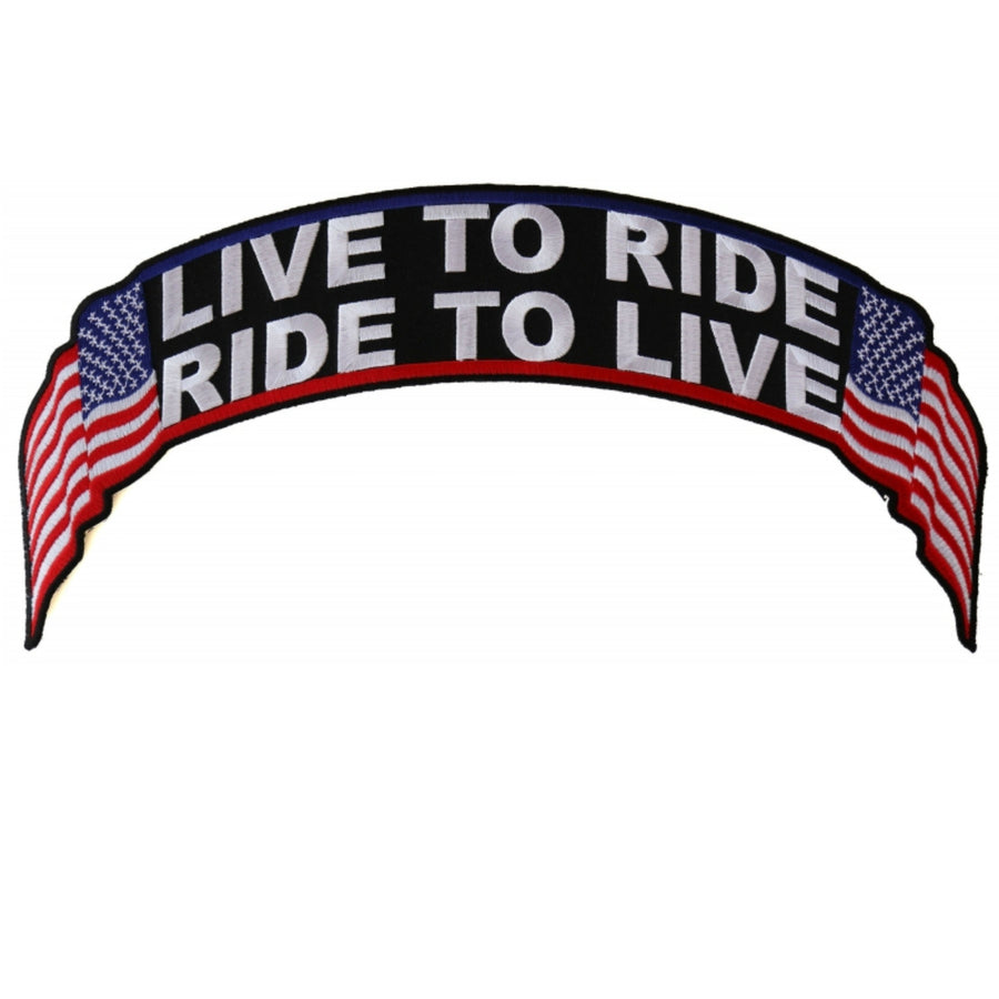 Daniel Smart Live To Ride, Ride To Live US Flag Biker Embroidered Iron On Back Patch, 12 x 2.5 inches