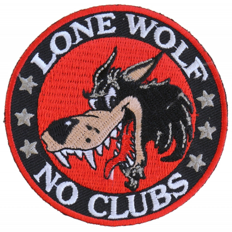 Daniel Smart Lone Wolf No Clubs Biker Embroidered Patch, 3 inches