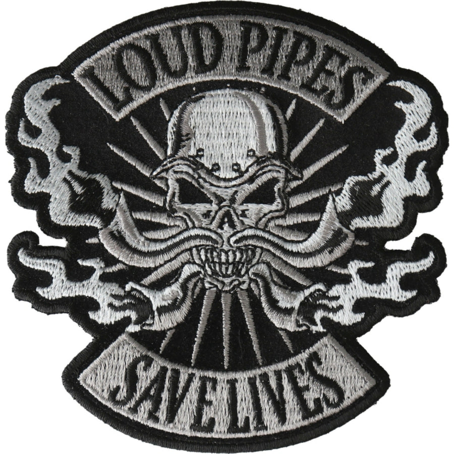 Daniel Smart Loud Pipes Save Lives Skull Embroidered Patch, 3.9 x 4 inches