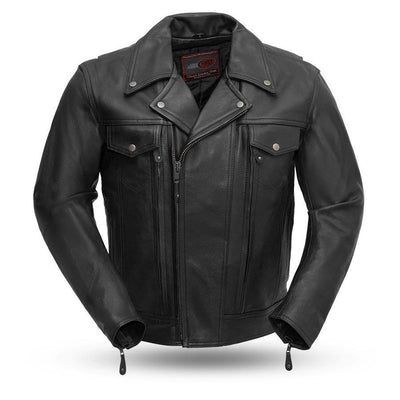 First Manufacturing Mastermind Motorcycle Leather Jacket, Black
