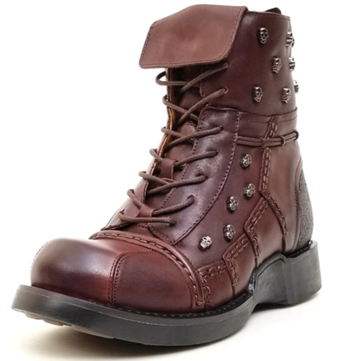 Lace Up Skull Boots
