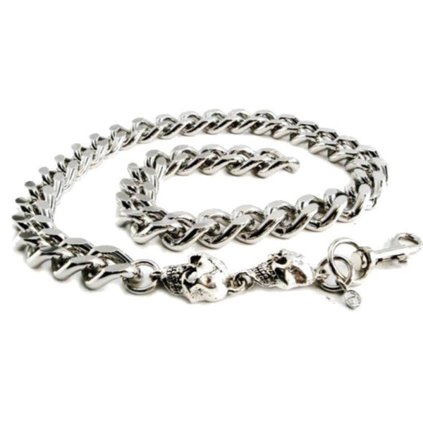 Daniel Smart Monster Leash Necklace with Skull, Chrome-Plated Aluminum Chain, 22 inch