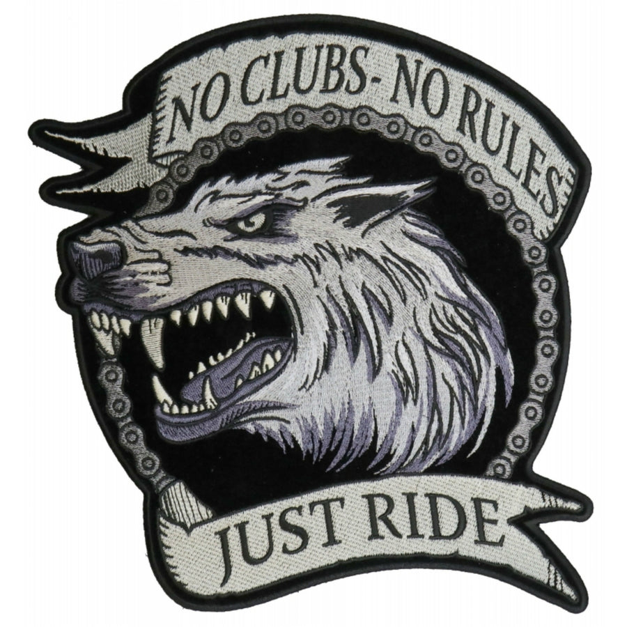 Daniel Smart No Clubs No Rules Just Ride Wolf Embroidered Iron on Biker Back Patch, 10 x 8.9 inches
