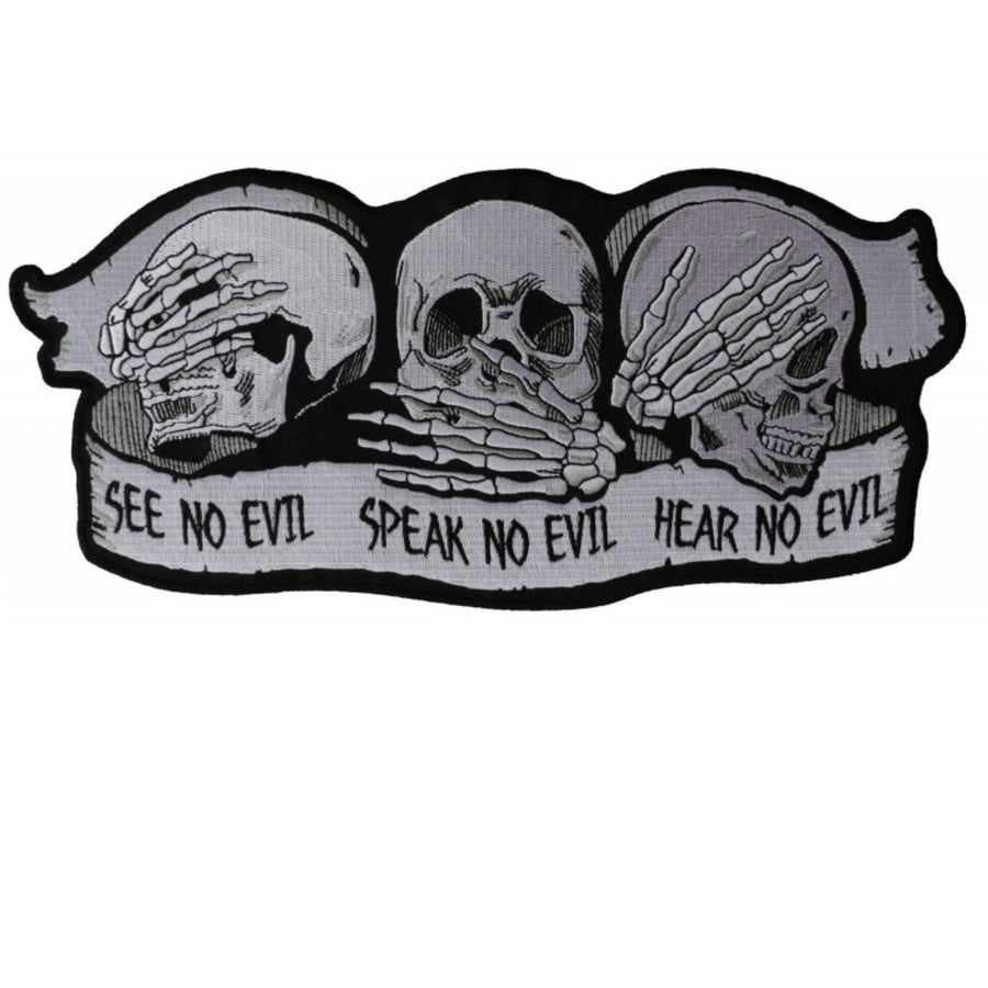 Daniel Smart No Evil Skull Embroidered Iron Patch , 11 x 5 inches