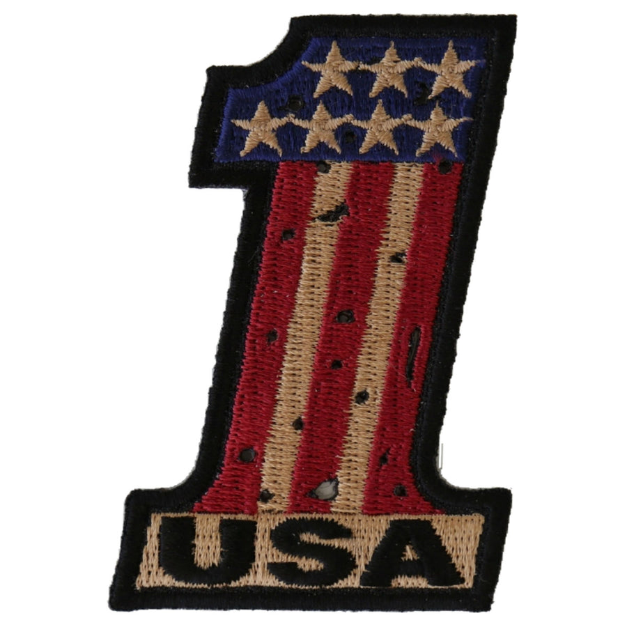 Daniel Smart Number 1 USA Vintage Flag and Stars Patch, 2 x 3 inches
