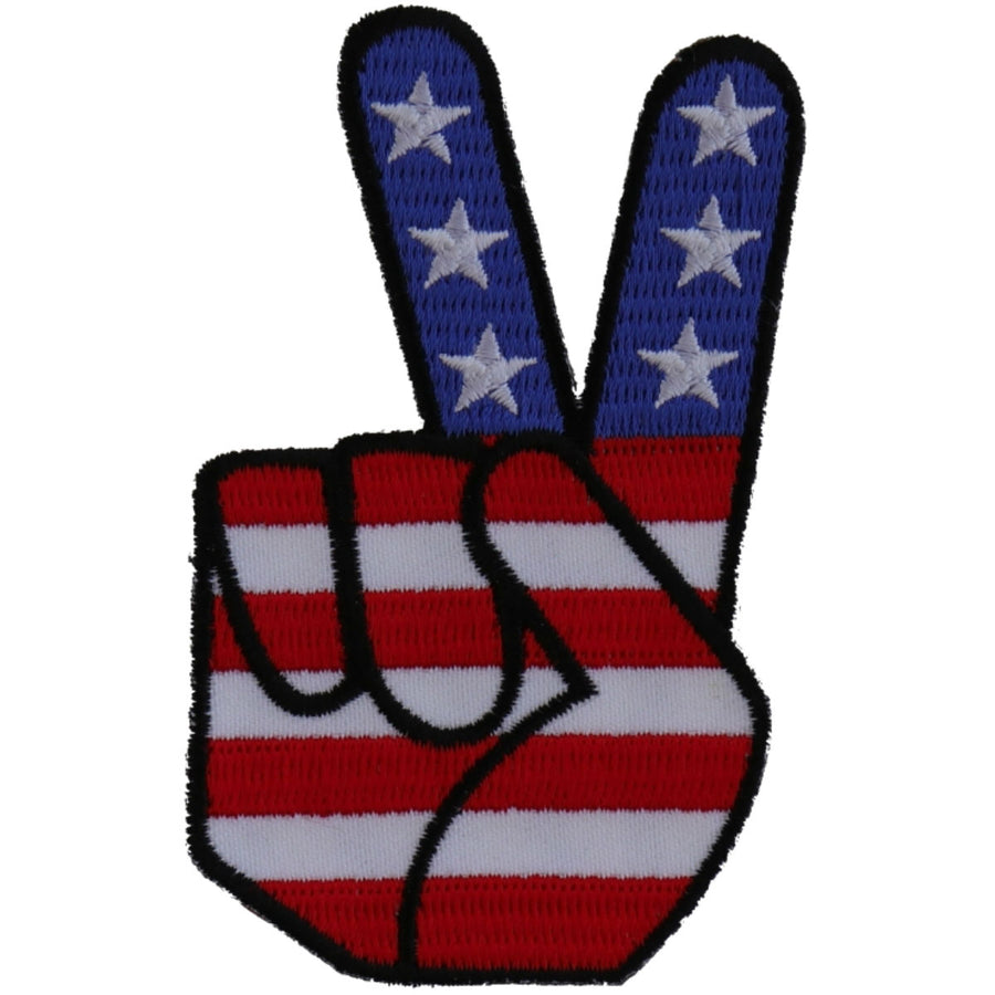 Daniel Smart Peace Hand Sign with American Flag Patch, 2.1 x 3.5 inches