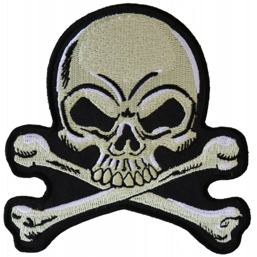 Daniel Smart Skull and Crossbones Patch, Black/Gray, 4 x 4 inches