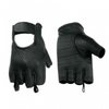 Daniel Smart Perforated Fingerless Black Leather Gloves - American Legend Rider