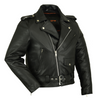 Daniel Smart Premium Classic Plain Side Police Style Motorcycle Leather Jacket, Black - American Legend Rider