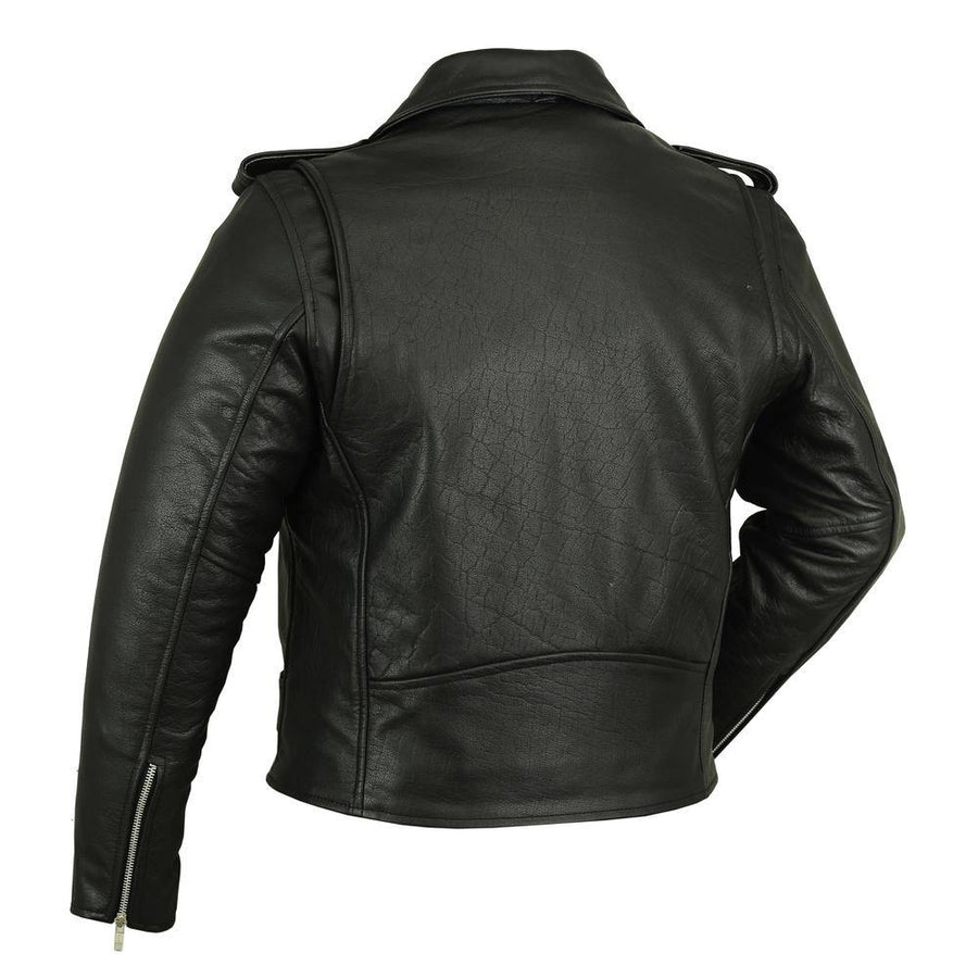 Daniel Smart Premium Classic Plain Side Police Style Motorcycle Leather Jacket, Black