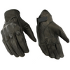 Daniel Smart Sporty Premium Motorcycle Leather Gloves w/ Rubberized Knuckle Protection, Black - American Legend Rider