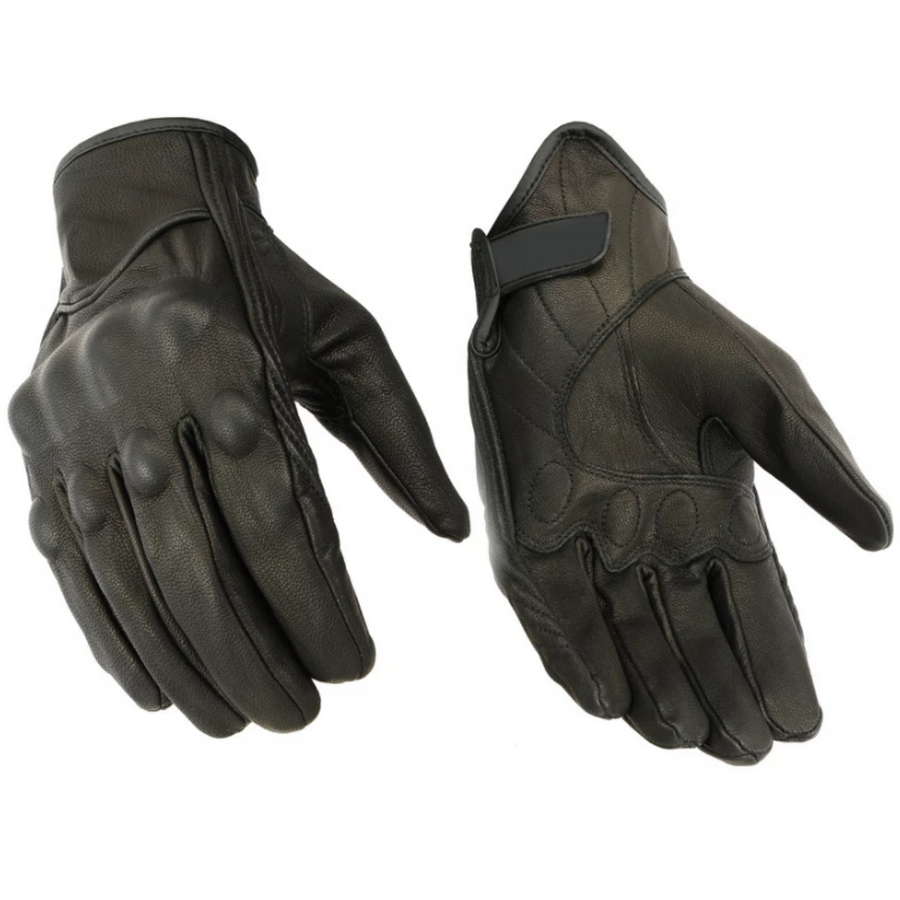 Daniel Smart Sporty Premium Motorcycle Leather Gloves w/ Rubberized Knuckle Protection, Black