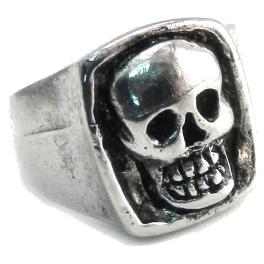 Daniel Smart Pewter Giant Skull Ring, Antique Silver