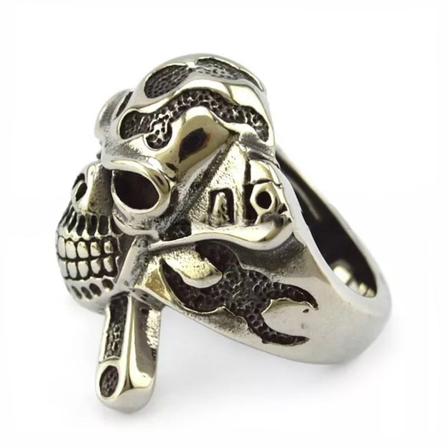 Daniel Smart Stainless Steel X Skull Biker Ring