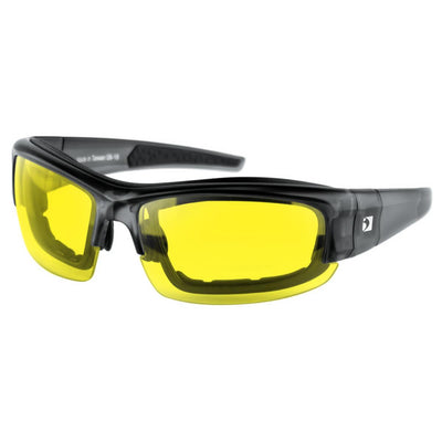 Bobster Rally Convertible Sunglasses, Matte Transparent Black Frame, 3 Lenses - Anti-fog Smoke, Yellow, Clear