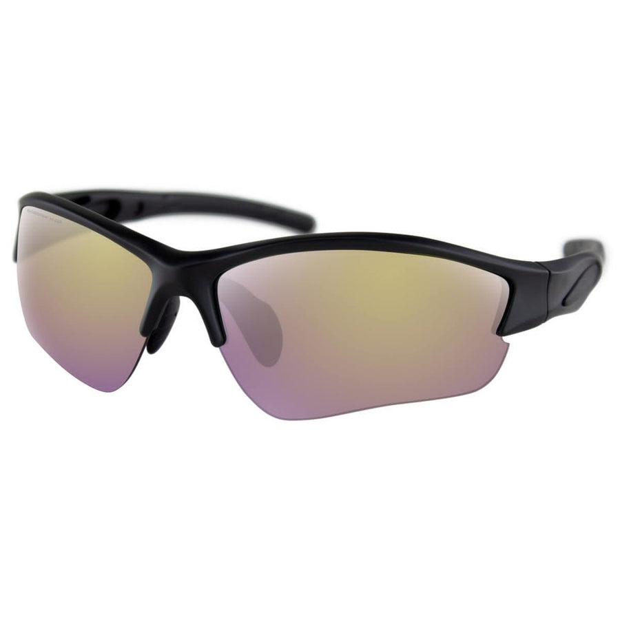 Bobster Rapid Sunglasses for Men, One Size, Matte Black Frame, Purple HD Yellow Revo Mirror Lenses