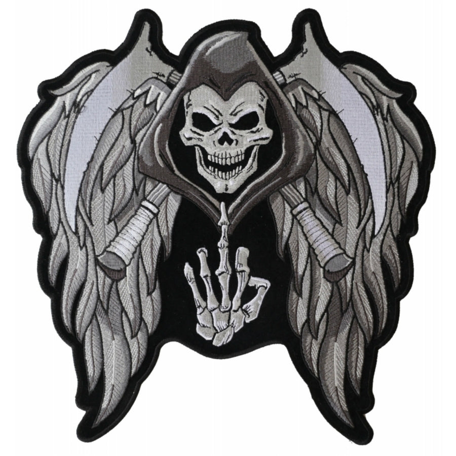 Daniel Smart Reaper Wings Scythe Middle Finger Embroidered Iron On Patch, 11.6 x 12 inch