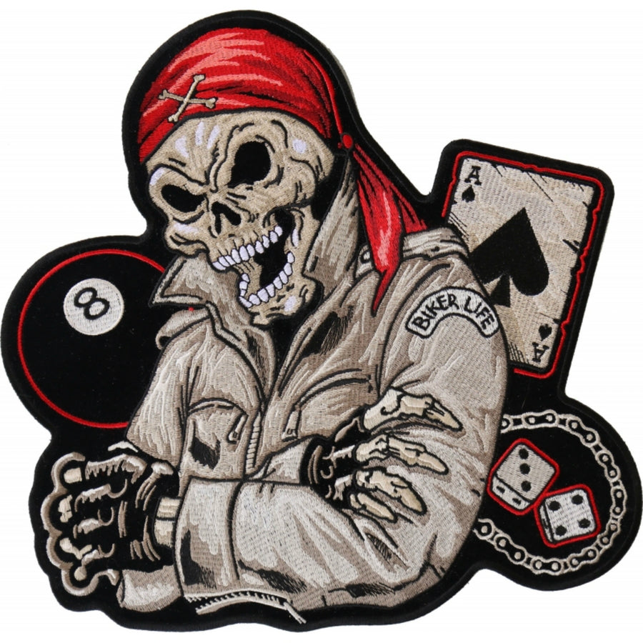 Daniel Smart Red Bandana Skull 8 Ball Ace of Spades Embroidered Iron On Biker Patch, 3 x 3 inches
