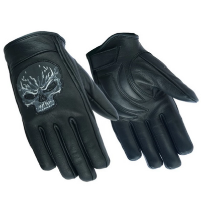Daniel Smart Reflective Skull Motorcycle Leather Short Gloves - American Legend Rider