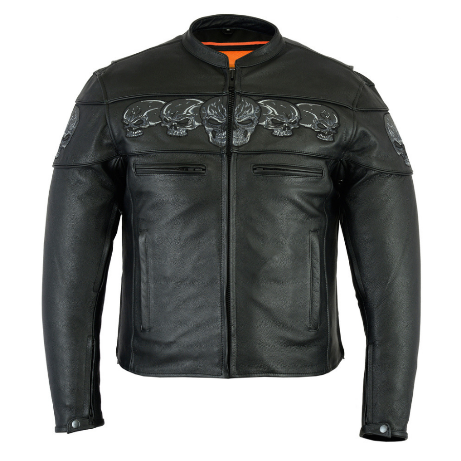 Daniel Smart Men's Scooter Jacket w/ Reflective Skulls