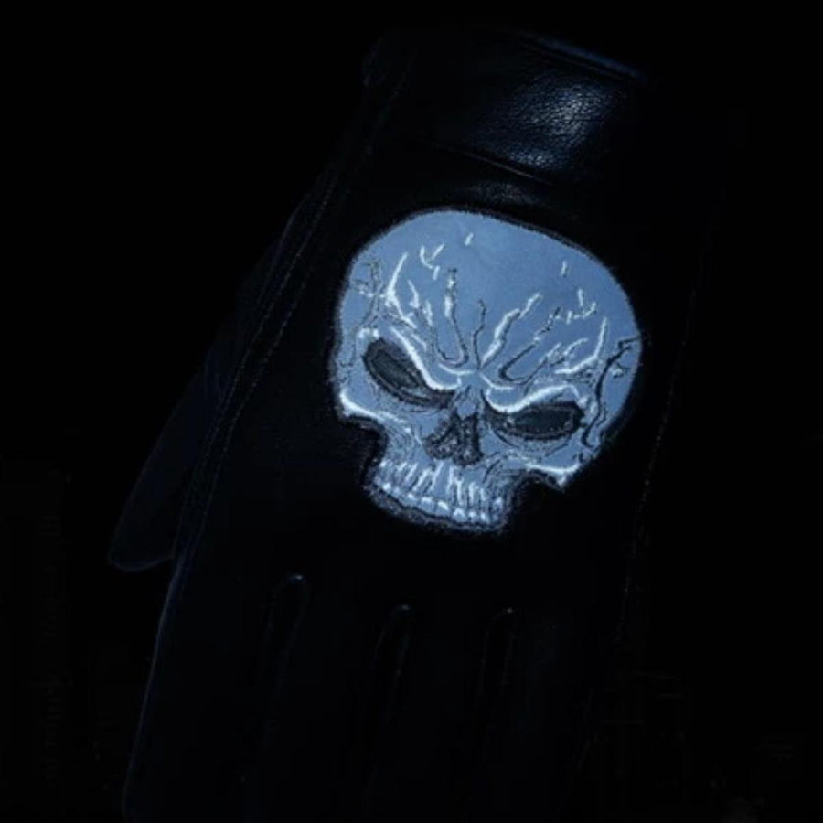 Daniel Smart Reflective Skull Motorcycle Leather Short Gloves