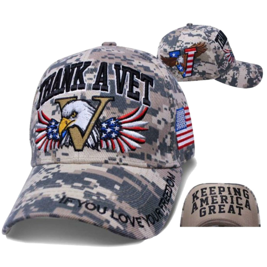 Daniel Smart Thank A Vet Motto Hat, Unisex, Gray/Light Brown