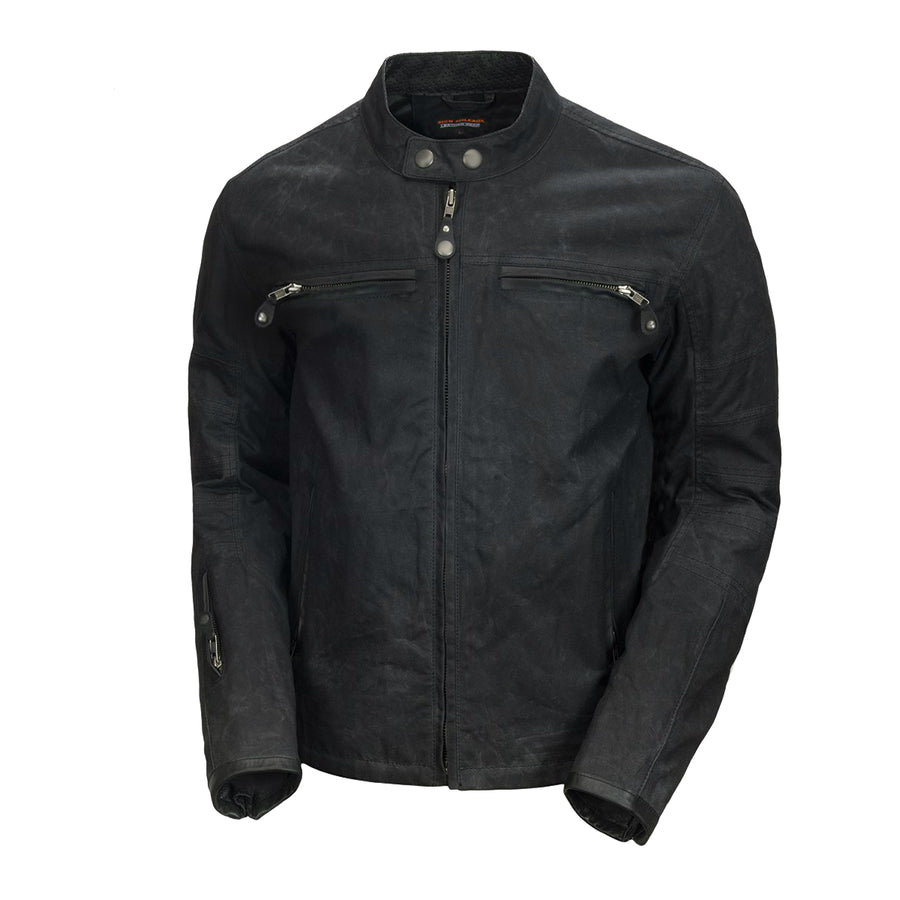 Vance Leather Enigma Men's Black Wax Cotton Scooter Jacket