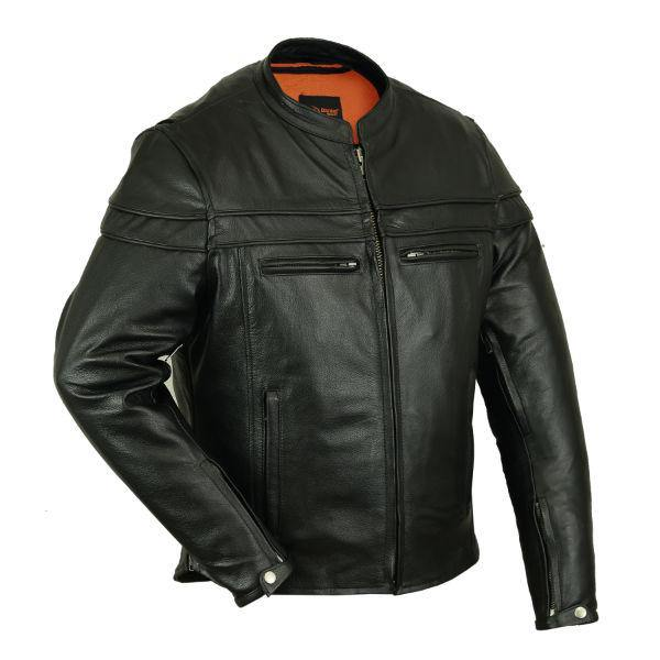 Daniel Smart Men's Sporty Scooter Leather Jacket, Size S-5XL Tall, Black