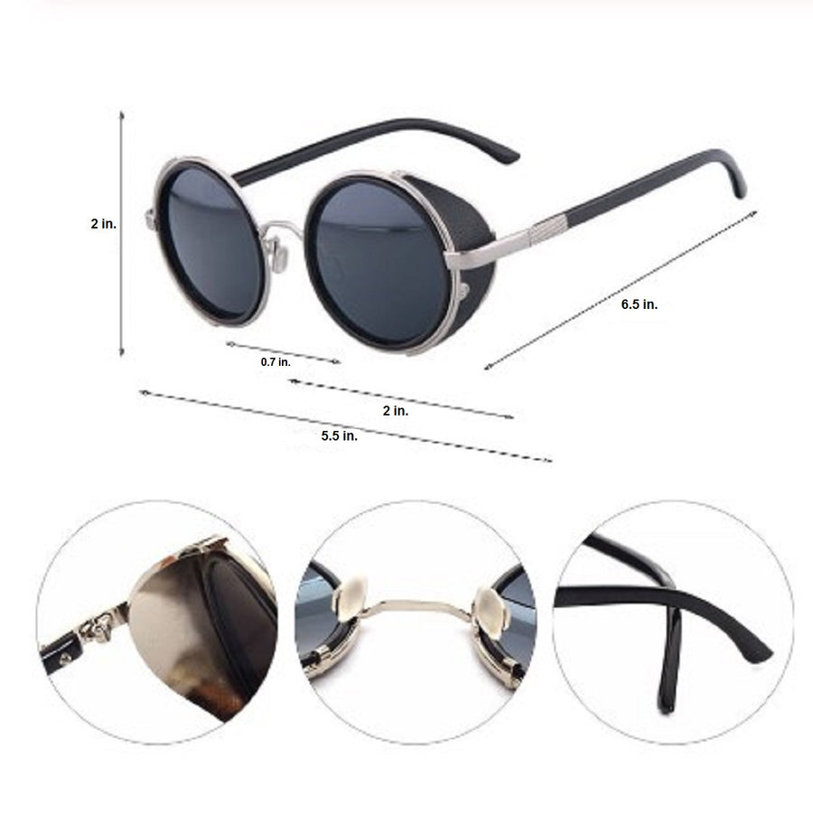 Motorcycle Vintage Round Sunglasses w/ UV 400 Protection, Silver/Black