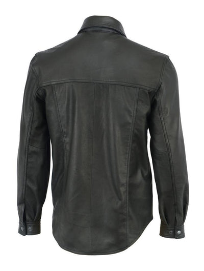 Daniel Smart Premium Lightweight Black Leather Shirt