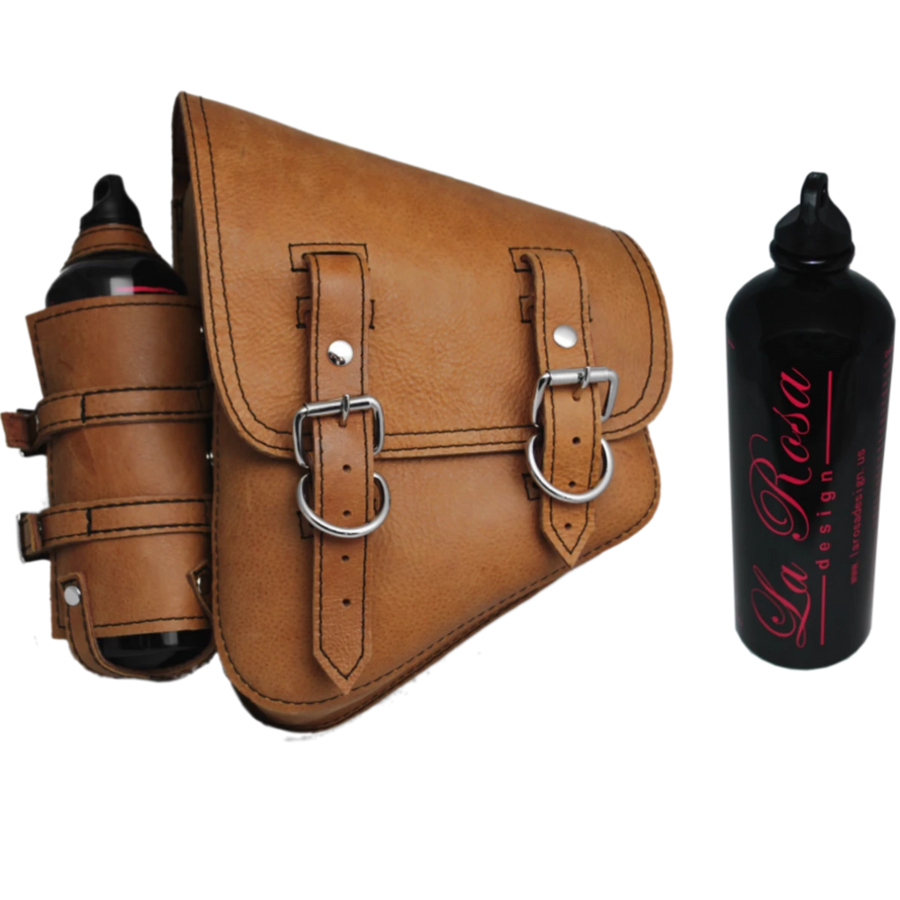 La Rosa Softail Saddle Bag with Spare Fuel Bottle Holder