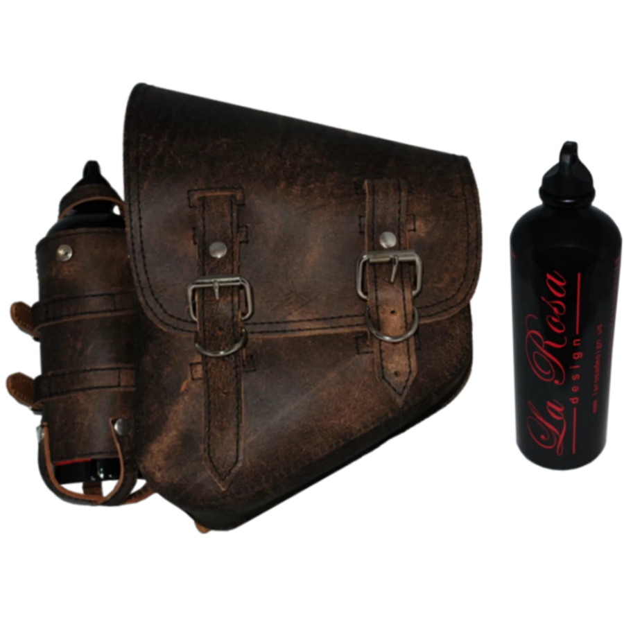 La Rosa Softail Rustic Saddle Bag with Spare Fuel Bottle Holder