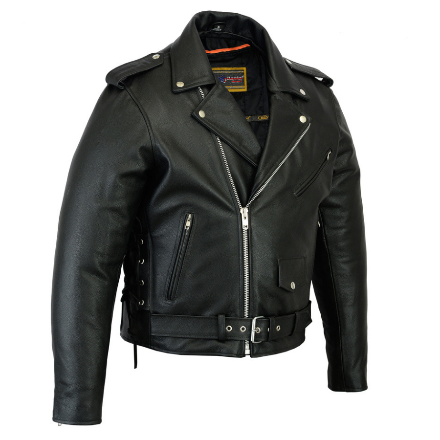 S Men Classic Leather Motorcycle Jacket with Lifetime Leather Warranty MBJ032Br