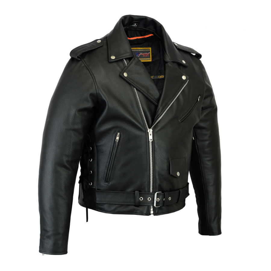 Daniel Smart Classic Side Lace Police Style Motorcycle Leather Jacket, Black