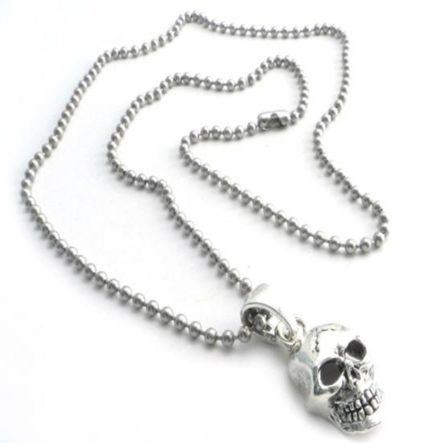 Daniel Smart Skull Pendant on Stainless Steel Shot Beed Ball Chain, 30 inch