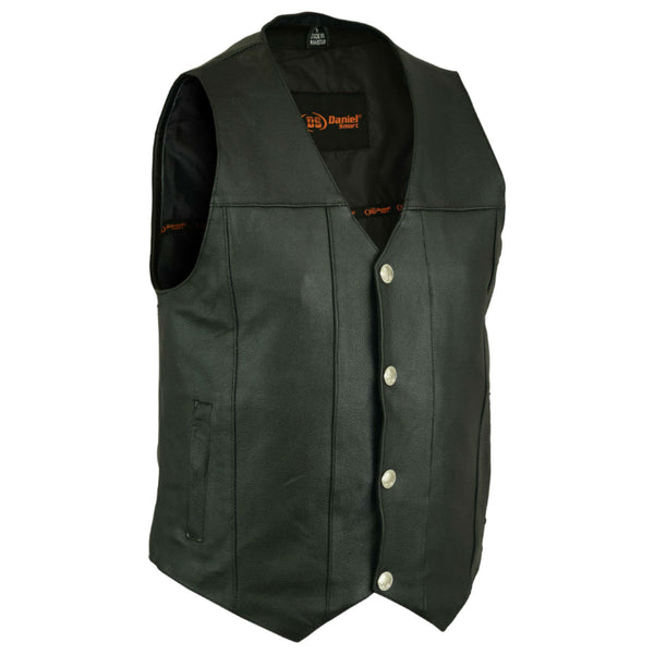 Daniel Smart Single Back Panel Concealed Carry Leather Vest (Buffalo Nickel Head Snaps), Black