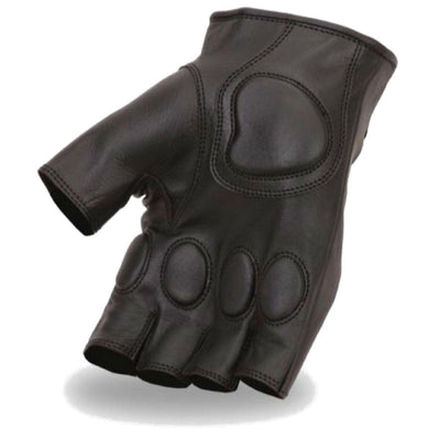 First Manufacturing Fingerless Black Leather Gloves w/ Kevlar & Gel Padding